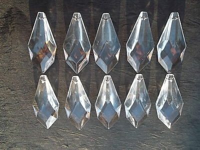 10 pretty small  glass spear chandelier drops (D686)