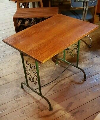 Vintage French Bistro Table Rustic Wrought Iron Base Teak Top  30 inch unusual