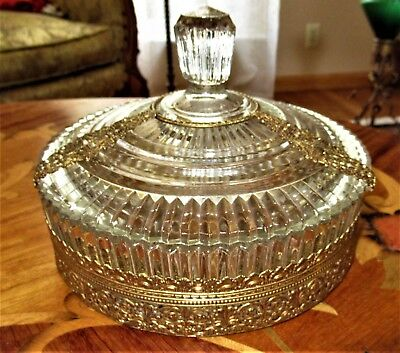 Vintage Glass Candy Dish With Ormolu Filigree Brass Accents