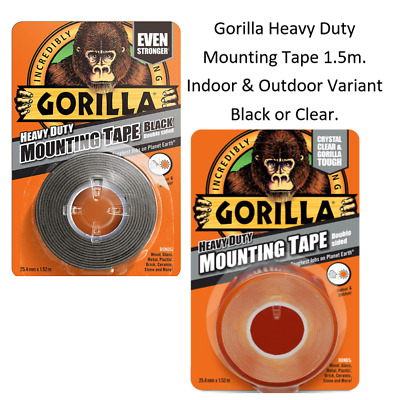 Gorilla tape Industrial Strength Mounting Tape Black or Clear Inside or Out 1.5m