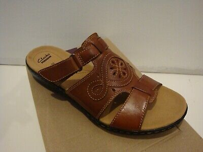 cad85d609296 NIB NEW Women CLARKS LEISA HIGLEY LEATHER CASUAL SLIDE SANDALS CUIR BRUN 12