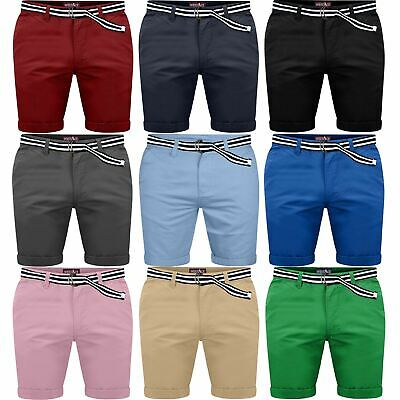Mens Belted Chino Shorts Cotton Stretch Half Pant Cargo Combat Fine Twill Pants