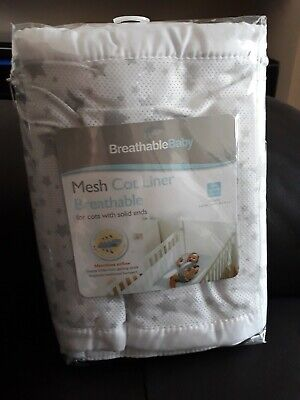 Breathable Baby Mesh Cot Liner, white with grey stars