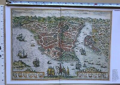 Antique vintage historical map 1500s: Constantinople (Istanbul)  Reprint 1572c