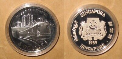 1989 Singapore MASS Rapid Transit Railway 5 D Proof Silver Coin