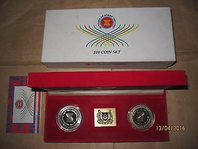 "1997 SINGAPORE 30TH Anni. ASEAN 1oz Proof(PP) Silver coin set with coa & box ""RA"
