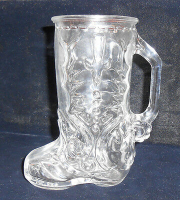Vintage Libbey Of Canada Clear Glass Beer Mug Cowboy Cowgirl Boot with Spurs #1