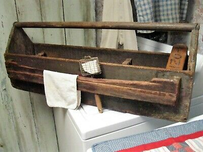 Antique Primitive Xl Wood Tool Tote Square Nailed Old Dry Green Paint