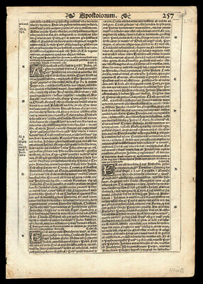 1539 Latin Bible Leaf New Testament Acts of The Apostles Chapters 11-15