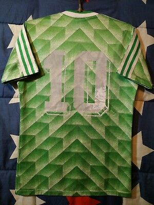 Vintage Adidas 1988-1990 Green Footbal Shirt Jersey Made in West Germany #10