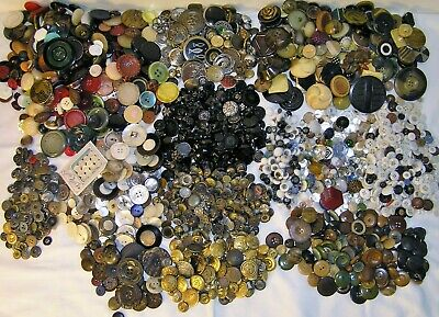 12 Pounds ANTIQUE & Vintage BUTTONS LOT Metal BLACK Glass MILITARY Work & MORE