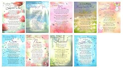 Graveside Memorial Cards Bereavement Mum Husband Nan Son Child With Verse