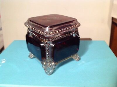 Antique Ruby & Clear Glass Lidded Jar  Pot, marked 1924