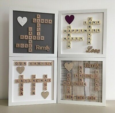 Scrabble Art Picture Frame Various Styles Personalised Any Occasion