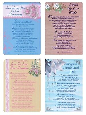 Graveside Memorial Cards Bereavement Wife Dad Daughter Anniversary With Verse