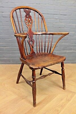 Antique Victorian Wheelback Windsor Elm & Beech Armchair Farmhouse Elbow Chair
