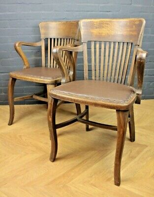 Pair of Art Deco 1930's Oak & Leather Office Armchairs Elbow Captains Chairs