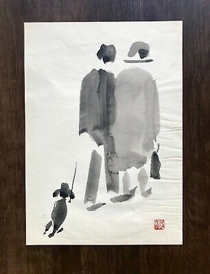 Vintage Original Art Signed Asian Watercolor Painting