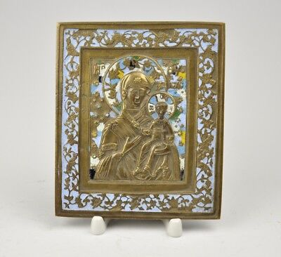 Antique Russian bronze icon with enamel
