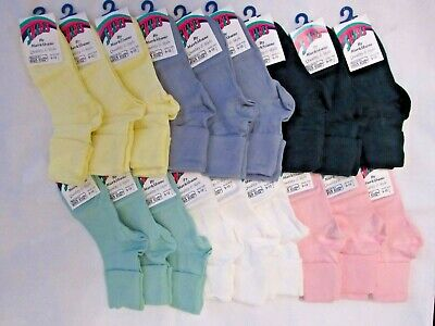 3 x Cotton Rich Ankle Turn Over Socks For Kids Pink White Blue Green yellow