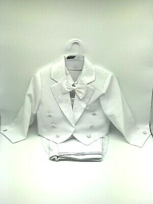 Baby Boy Tuxedo Suit 5 pcs Set Ivory/ White Christening Wedding Baptism Birthday
