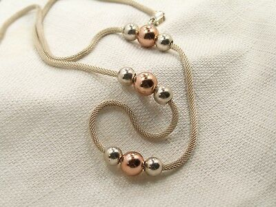 Estate Sterling Silver and Rose Gold Ball Bead Necklace by Espo Joseph Esposito