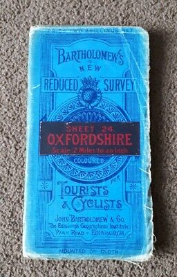 vintage Bartholomews Reduced Survey Map OXFORDSHIRE 2 Miles To An Inch Cloth
