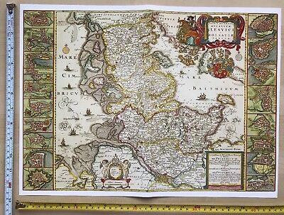 Old Antique Blaeu Map Schleswig-Holstein Germany 1600s inc 20 town plans REPRINT