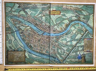 Old Antique Historic Map Lyon, France: 1572 Braun & Hogenberg REPRINT 1500's