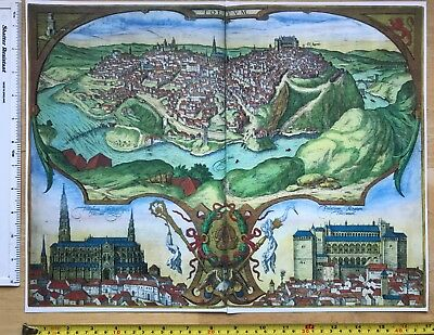 Antique Colour Map of Toledo, Spain: 1566 by Braun & Hogenberg REPRINT 1500's