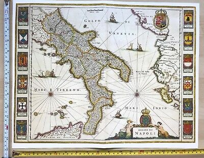 Historic Antique Old vintage Blaeu Map of South Italy 1640 1600's: REPRINT