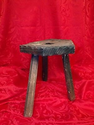 French Antique Rustic MILKING STOOL Circa 1900 (repaired) - Primitive Farm Stool