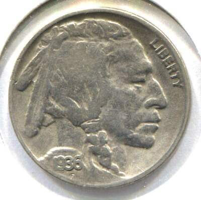 US 1936 Indian Buffalo Nickel -  American Five Cent Coin - Philadelphia Mint