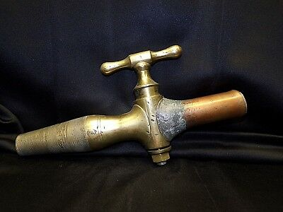 French Vintage Copper & Brass Large Garden Faucet Outdoor Plumbing Fixture