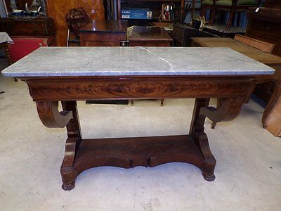 French Antique Mahogany And Marble Restoration Console Table Circa 1820