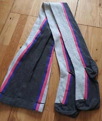 Brand New NEXT Girls Cotton Tights Size 11-12 yrs, Grey with Pink & Blue Stripes