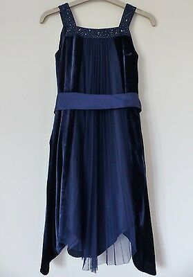 Monsoon Beautiful Midnight Blue Velvet Dress, Size 5-6 years, in Excellent Cond!