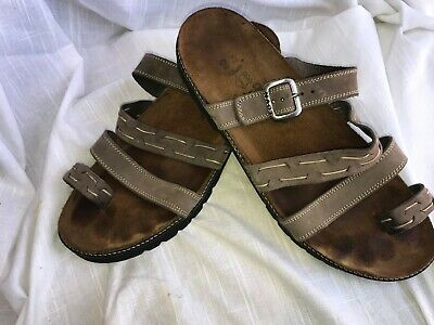 afeaee70d992 Naot Womens Light Gray Leather Slides Strap Sandals Toe Loop Size EUR 40 US  9.5