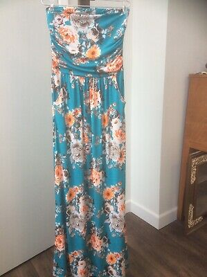 a6837f1bcd7f Vanilla Bay Strapless Maxi Dress POCKETS FLORAL STRETCH CRUISE WEAR Size S/M