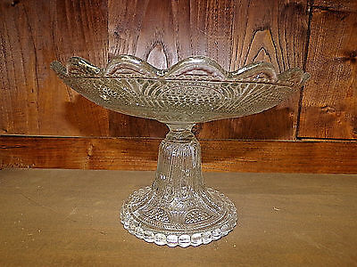 Antique French Glass Compote Eapg Pattern Circa 1900