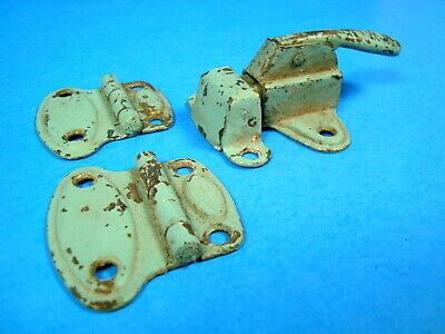 Vintage Antique Pair Of Cabinet Hinges & Latch Green Chippy Paint Rustic