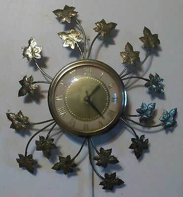 Vtg United Model 77 Wall Hanging Electric Clock MCM Mid Century Modern Rewired!!