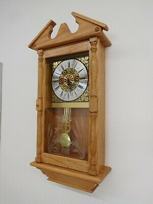 Solid Oak Wood Wall Clock - Dual Chime Wooden Clock with Pendulum