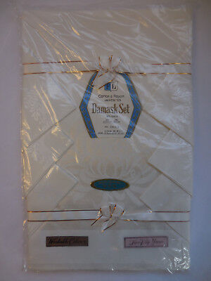 """Vintage New Old Stock FL Damask Tablecloth with Napkins 50"""" x 66"""""""