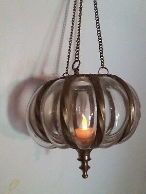 Vintage rare Chain Pulley Hanging Glass & Brass Candle Pendant
