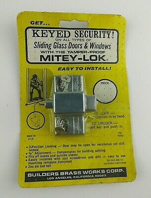 Mitey-Lok Sliding Glass Door & Window Key Lock Vintage Builders Brass Works Corp