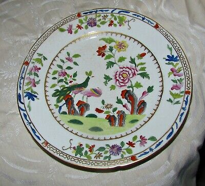 antique 18th 19th century chinese hand painted enameled rose famille  plate