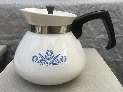 Vintage Corning Ware Blue Cornflower 6 Cup Tea Pot with Metal Lid Unused Lovely