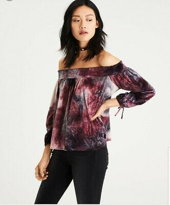 562356667839cb American Eagle Womens Off The Shoulder Purple Tie Dye Crushed Velvet Top  Size S
