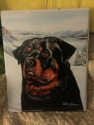 Rare Vintage 1993 Rottweiler Dog Art Print Mountains Snow Signed